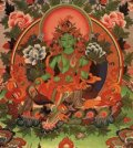 Green Tara is the Buddha of enlightened action, and her mantra is OM TARE TUTARE TURE SOHA. She is a very popular deity in Tibet and most Tibetans can recite her praises as this is one of the first songs taught to Tibetan children.